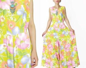 1960s Floral Jumpsuit Vintage Wide Leg Palazzo Jumpsuit Sunny Yellow Floral Print Pantsuit Festival Romper Sleeveless Hippie Jumpsuit (M)