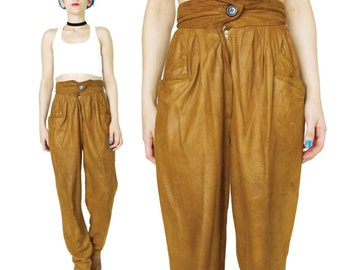 French Vintage Tan Leather Pants Black 1980's Soft Suede Pants High Waisted Leather Pants Slouchy Leather Harem Pants Leather Trousers (XS)