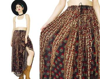 Vintage Gypsy Broomstick Skirt Indian Gauze Skirt Festival Hippie Boho Floral Maxi Skirt Plus Size Crinkle Drawstring Waist Skirt (L/XL)