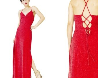 90s Bodycon Evening Gown Lace Up Back Dress Red Prom Dress Strappy Sexy Disco Dress Metallic Sparkly Maxi Dress Stretchy Evening Dress (M/L)