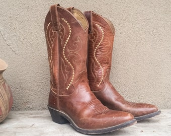 Vintage Justin Women's size 7.5 B (fits up to size 8) cowgirl boot, brown leather cowboy boot Women, Western boot, festival boots rockabilly