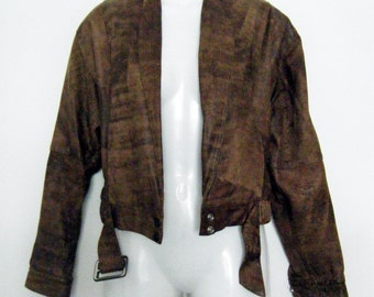 80s tough girl CROPPED lil BOMBER JACKET / whisky brown leather with biker belt detail, size s - m