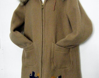 1960s Wool Eskimo Coat Genuine INUVIK INUIT PARKA with Fox Fur Hood and Novelty Appliques,