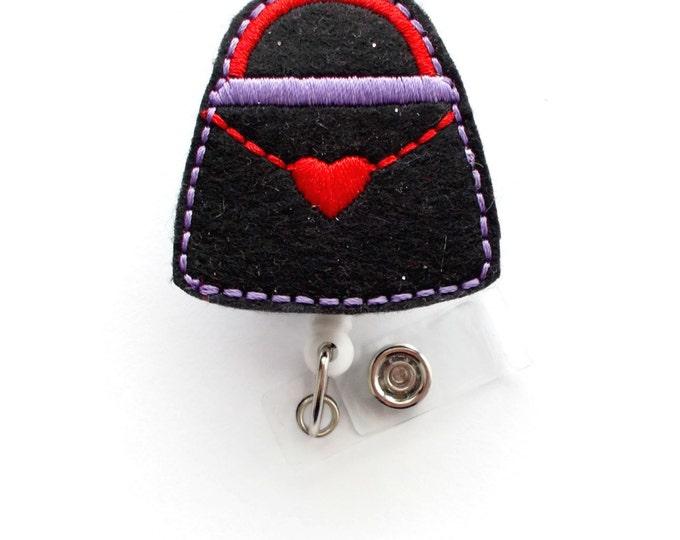 Purse red and purple - Cute Badge Holder - Nurses Badge Holder - Felt Badge - Nursing Badge Holder - Teacher Badge Reel - RN Badge Reel