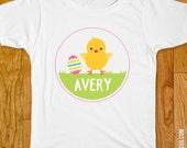 Easter Iron-On Shirt Design - Chick and Pink Easter Egg - Choose child or onesie size