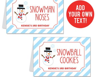INSTANT DOWNLOAD Snowman Party Buffet Cards - EDITABLE Printable File