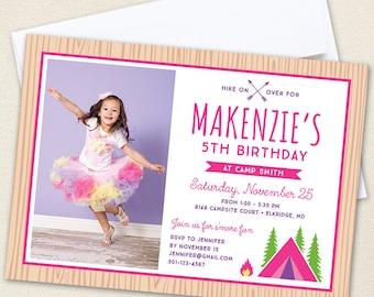 Pink Camping / Glamping Party Photo Invitations - Professionally printed *or* DIY printable