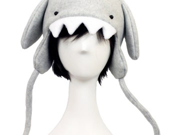 Light Gray Shark Fleece Hat Attack of Super Rawr Awesome Jawness