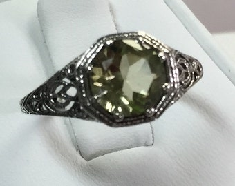 Green Amethyst Ring in Petite Antique Look Sterling Setting Size 6 3/4