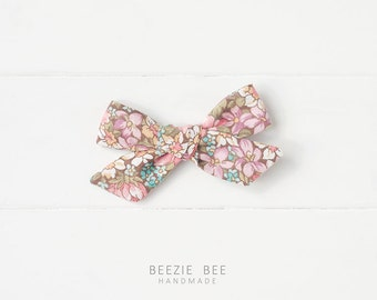 """The Schoolgirl Bow in """"Vintage Floral"""" - Hand Tied Fabric Bow - Babies, Toddlers, Girls - Nylon Headband or Clip"""