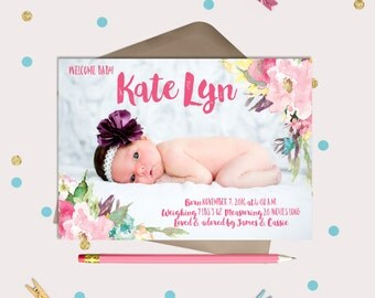 Sweet Vintage Floral Baby Birth Announcement Cards or Magnets