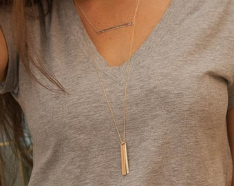 Gold Vertical Bar Necklace Personalized - Long Layer - Custom Engraved 2 Kids Mom Cool Mommy Gift - Initial Charm - Minimalist Modern Simple