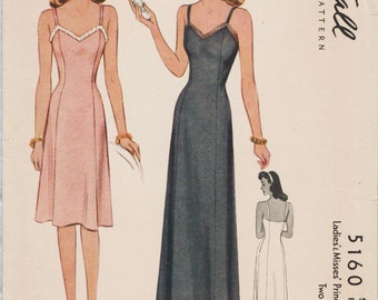 McCall 5160 / Vintage 1940s Sewing Pattern / Lingerie / Slip / Size 16 Bust 34