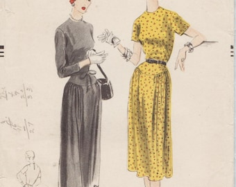 Vogue 7854 / Vintage 1950s Sewing Pattern / Dress / Size 16 Bust 34