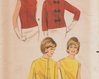 Vintage Sewing Pattern / Butterick 3218 / 1960s Blouse And Jacket / Size 16 Bust 36