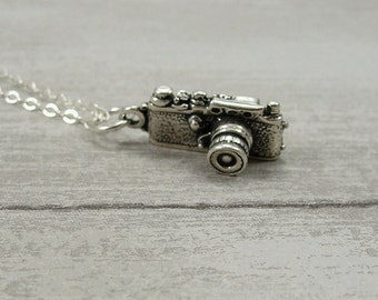 Digital Camera Necklace, Sterling Silver Camera Charm on a Silver Cable Chain