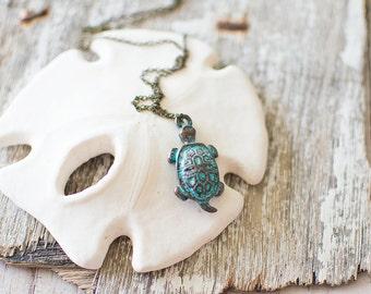 Sea Turtle Necklace. Sea Necklace. Beach Jewelry. Patina Necklace. Tortoise Necklace. Turtle Pendant. Summer Jewelry. Verdigris Necklace.