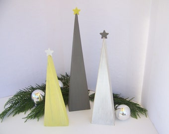 Shabbily Cottage Chic Wooden Christmas Trees Home Decor Christmas Decor