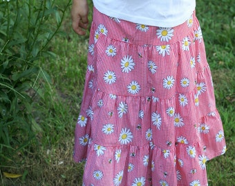 Girls Long Modest Red and White Check Daisy Tiered Peasant Skirt Size 6/8