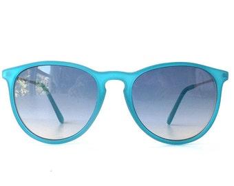 vintage 1990's NOS round sunglasses aqua turquoise blue frames silver metal grey lenses sun glasses women eyewear fashion retro accessories