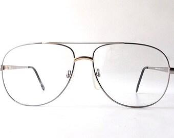 vintage 1980's NOS silver gold aviator metal frame eyeglasses oversized eye glasses modern accessories deadstock mens womens retro modern