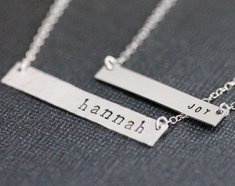 Custom Name Necklace, Sterling Silver Horizontal Small and Large Versions, Personalized Silver Bar