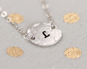 Initial Disc Necklace Sterling Silver, Personalized Circle Charm, Custom Hand Stamped