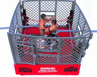 1986 AWA WWF Wrestling Ring Remco Toys Vintage Collectible 1985 Action Figures RARE Steel Cage Match Play Set Road Warrior Hawk & Greg Gagne