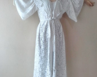 Off white lace robe Plus size bridal lace kimono jacket bridal lace robe ivory bridal robe maternity hospital gown
