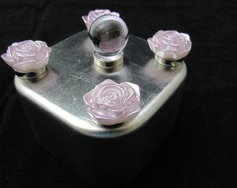 Rose magnet set, light purple roses, strong magnets, fridge magnet, office magnet, white board magnets, light purple glass marble magnet 538