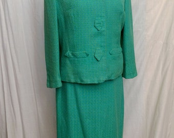 Vintage 1960s Green Blue Tweed Skirt Suit Tailorbrooke Size 8