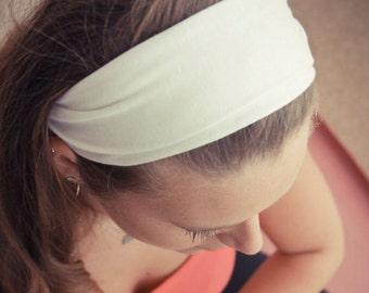 Cream Headband, Ivory Headband, Yoga Hair Scarf, Workout Head Scarf, Off-White Hair Headband (#1003) S M L X