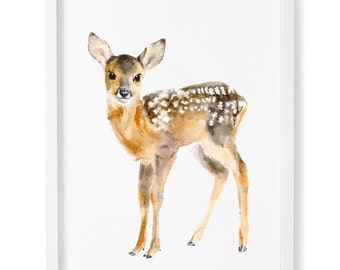 Deer Print Of Watercolor Painting, Giclee Animal Print