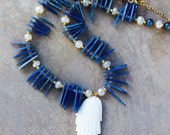 White Wing Necklace Carved Bone Angel Wing with Thin Blue Kyanite Shards, Pearl Chalcedony, and Gold Plated Pyrite Gemstone Jewelry