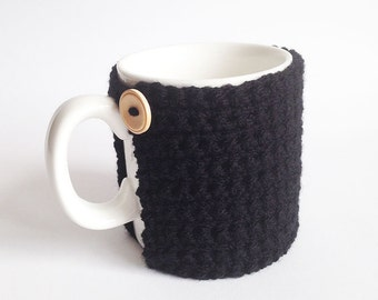 Crochet Mug Cosy With Built in Coaster in Black