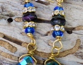 Sparkling Crystal dangling earrings with rhinestones and druzy beads Purple Blue Gold