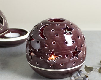 Large Candle Holder Burgundy Red candleholder House Decor Handmade Ceramic round lantern wedding centerpiece Tea Light luminary Stars Moon