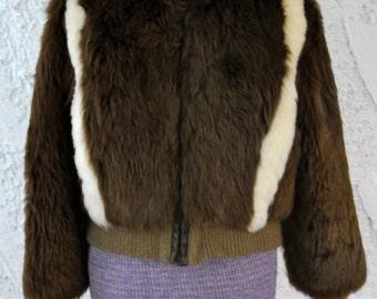 REDUCED Vintage 80s Faux Fur Bomber Jacket - Medium
