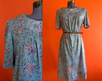 Vintage Floral Motif Babydoll Dress - Large