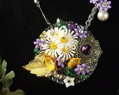 Assemblage jewlery wearable art floral mixed media brooch style necklace