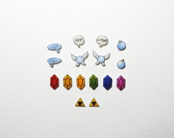 Zelda earrings, you pick, navi, blue bomb, triforce, speech bubble, ocarina, rupee