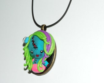 CLEARANCE half off Zombie girl cameo necklace. walking dead, living dead girl, rainbow hair, hair bows, skulls, stitches, cute, glitter,
