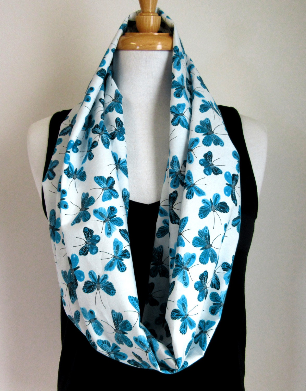 blue butterfly infinity scarf organic cotton scarf blue and