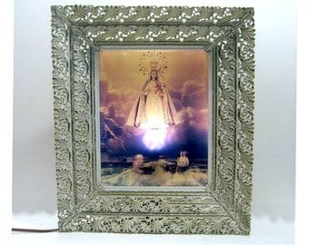 Madonna Light Fixture, Framed Light Up Madonna, Hanging Madonna Lamp, Madonna Wall Lamp, 3D Madonna Light Fixture, Madonna Del Lume Light