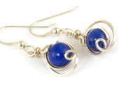 Lapis Lazuli sterling Silver Earrings, Small Royal Blue Gemstone Wire Dangle Earrings