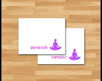 Yoga Stationery / 10 Note Cards / Woman Lotus Position / Ombre Pink Purple / Namaste or Personalized / Om / Stationery Gift / Silhouette