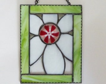 Flower Power  // Stained Glass Panel // Daisy // Bright // Cheerful // Small // Little // Fun // Retro // Hippie // Floral // Get Well