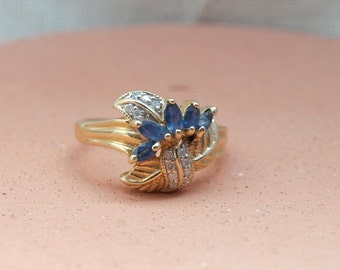 Vintage Blue Sapphires and White Diamonds in 14kt Yellow Gold Ring Size 8