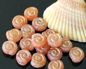8mm Spiral Coin Beads - Jewelry Making Supplies - Peach with Gold Decor - Czech Glass Beads - 25 Beads