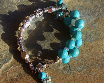 OOAK Turquoise and Lost Wax Casting Sterling Silver Bracelet, Boho Handmade Jewelry, Handcrafted Artisan Sterling Silver Bracelet